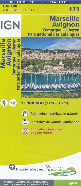 SV-171  Avignon, Marseille 9782758540878  IGN Série Verte 1:100.000  Fietskaarten, Landkaarten en wegenkaarten tussen Valence, Briançon, Camargue en Nice