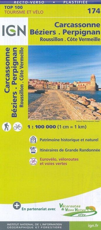 SV-174  Beziers, Perpignan, Carcassonne | omgevingskaart / fietskaart 1:100.000 9782758540908  IGN Série Verte 1:100.000  Fietskaarten, Landkaarten en wegenkaarten Franse Pyreneeën, Toulouse, Gers, Garonne