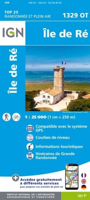 1329OT Île de Ré | wandelkaart 1:25.000 9782758541073  IGN TOP 25  Wandelkaarten Loire Atlantique, Charente, Vendée