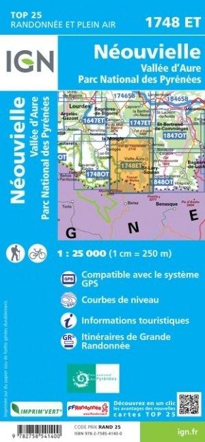 1748ET Néouvielle, Vallée d'Aure | wandelkaart 1:25.000 9782758541400  IGN TOP 25  Wandelkaarten Franse Pyreneeën, Toulouse, Gers, Garonne