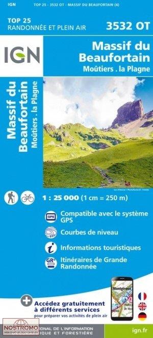 3532OT Massif du Beaufortain, Moutiers | wandelkaart 1:25.000 9782758541950  IGN TOP 25 (1:25.000) Wandelkaarten Franse Alpen  Wandelkaarten Lyon, Ain, Savoie, Mont Blanc, Vanoise, Chartreuse