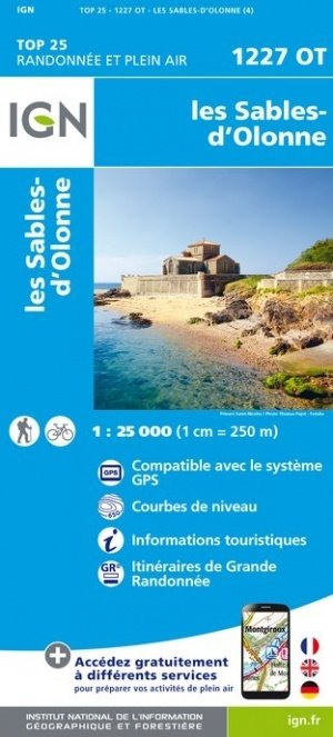 1227OT Sables d'Olonne, Olonne-sur-Mer | wandelkaart 1:25.000 9782758542605  IGN TOP 25  Wandelkaarten Loire Atlantique, Charente, Vendée
