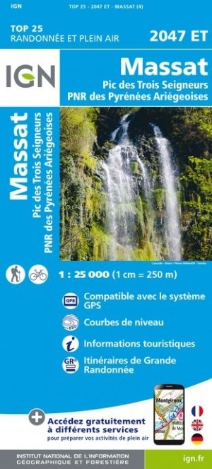 2047ET   Massat | wandelkaart 1:25.000 9782758542735  IGN TOP 25  Wandelkaarten Franse Pyreneeën, Toulouse, Gers, Garonne