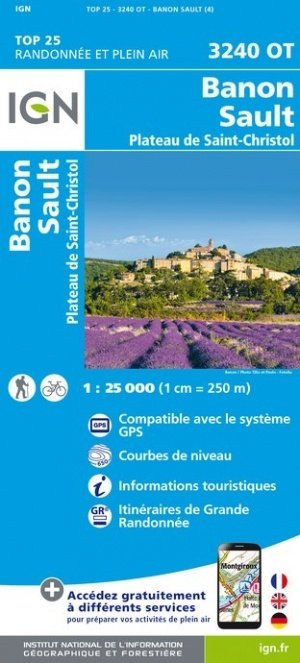 3240OT  Sault, Séderon, Banon | wandelkaart 1:25.000 9782758542841  IGN TOP 25 (1:25.000) Wandelkaarten Provence  Wandelkaarten tussen Valence, Briançon, Camargue en Nice