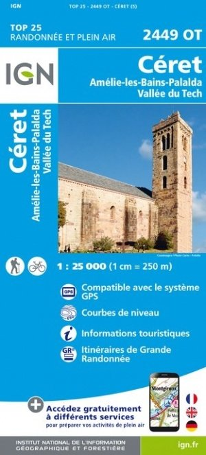 2449OT Céret, Amélie-les-Bains-Palalda   wandelkaart 1:25.000 9782758543046  IGN TOP 25  Wandelkaarten Franse Pyreneeën, Toulouse, Gers, Garonne