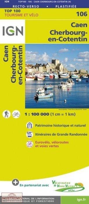 SV-106 Caen/Cherbourg 9782758543572  IGN Série Verte 1:100.000  Fietskaarten, Landkaarten en wegenkaarten Normandië