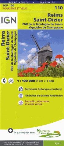 SV-110  Reims, St-Dizier 9782758543602  IGN Série Verte 1:100.000  Fietskaarten, Landkaarten en wegenkaarten Champagne, Franse Ardennen