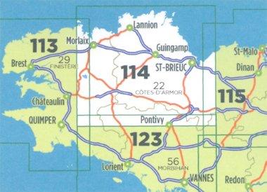 SV-114  St.Brieuc/Morlaix | omgevingskaart / fietskaart 1:100.000 9782758543633  IGN Série Verte 1:100.000  Fietskaarten, Landkaarten en wegenkaarten Bretagne