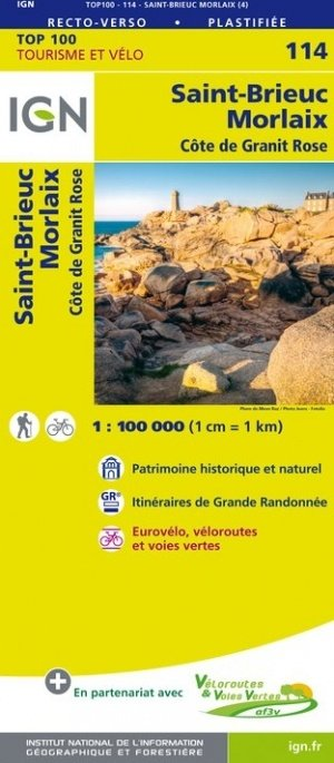 SV-114  St.Brieuc/Morlaix 9782758543633  IGN Série Verte 1:100.000  Fietskaarten, Landkaarten en wegenkaarten Bretagne