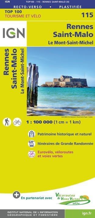 SV-115  Rennes, St-Malo 9782758543640  IGN Série Verte 1:100.000  Fietskaarten, Landkaarten en wegenkaarten Bretagne