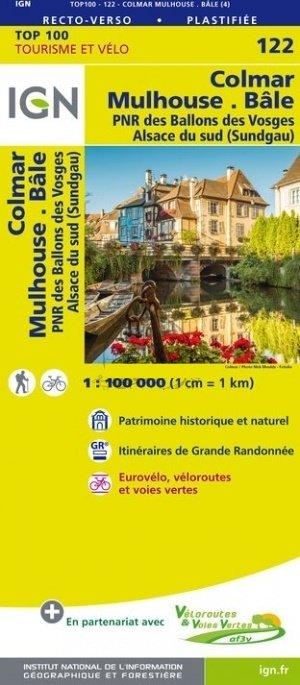 SV-122  Colmar, Mulhouse, Bâle | omgevingskaart / fietskaart 1:100.000 9782758543688  IGN Série Verte 1:100.000  Fietskaarten, Landkaarten en wegenkaarten, Lopen naar Rome Vogezen