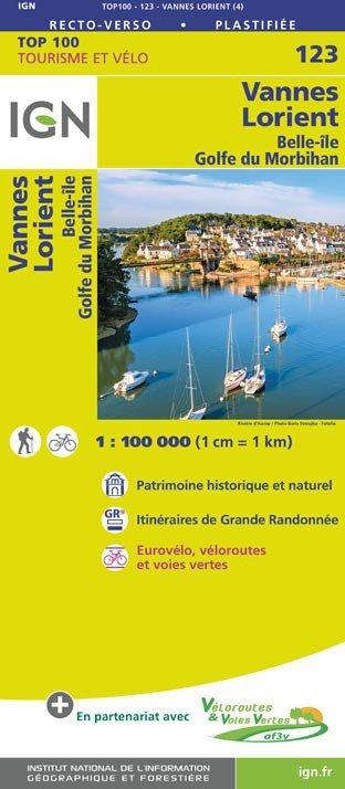 SV-123  Lorient/Vannes 9782758543695  IGN Série Verte 1:100.000  Fietskaarten, Landkaarten en wegenkaarten Bretagne
