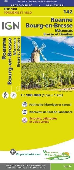 SV-142  Mâcon, Roanne | omgevingskaart / fietskaart 1:100.000 9782758543763  IGN Série Verte 1:100.000  Fietskaarten, Landkaarten en wegenkaarten, Wijnreisgidsen Bourgogne