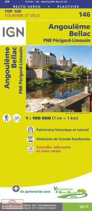 SV-146  Angoulême, Bellac | omgevingskaart / fietskaart 1:100.000 9782758543787  IGN Série Verte 1:100.000  Fietskaarten, Landkaarten en wegenkaarten Haute-Vienne, Creuse, Corrèze