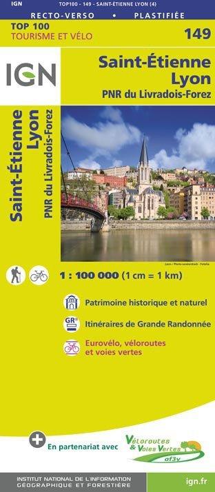SV-149  Lyon, St-Étienne | omgevingskaart / fietskaart 1:100.000 9782758543794  IGN Série Verte 1:100.000  Fietskaarten, Landkaarten en wegenkaarten Auvergne, Cantal, Forez