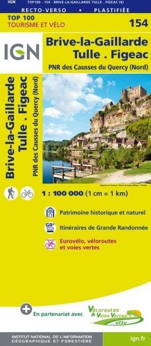 SV-154  Brive-la-Gaillarde, Figeac | omgevingskaart / fietskaart 1:100.000 9782758543800  IGN Série Verte 1:100.000  Fietskaarten, Landkaarten en wegenkaarten Dordogne, Lot, Tarn