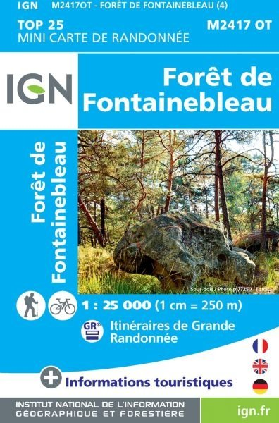 MINI TOP 2417 OT Fontainebleau MINI-TOP!!!!!! 9782758544531  IGN TOP 25  Wandelkaarten Parijs, Île-de-France