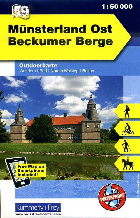 Münsterland, oostelijk deel 1:50.000 9783259007440  Kümmerly & Frey   Wandelkaarten Münsterland, Bentheim