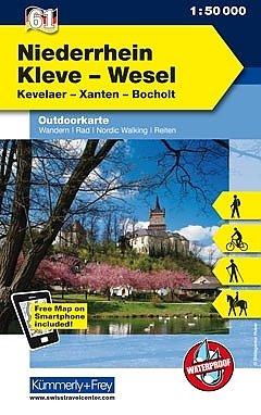 Niederrhein Nord: Kreis Kleve und Wesel 1:50.000 9783259007464  Kümmerly & Frey   Fietskaarten, Wandelkaarten Niederrhein