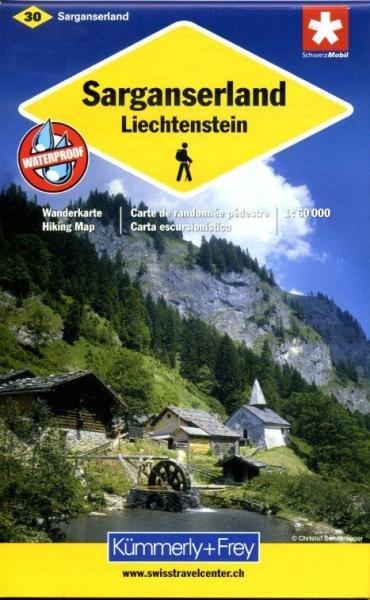 KFW-30  Sarganserland, Liechtenstein | wandelkaart / overzichtskaart 9783259008102  Kümmerly & Frey Wandelkaarten Zwitserland  Wandelkaarten Noordoost- en Centraal Zwitserland