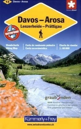 KFW-13  Davos, Arosa, Prättigau 1:60.000 9783259008164  Kümmerly & Frey Wandelkaarten Zwitserland  Wandelkaarten Graubünden, Tessin