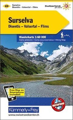KFW-20  Surselva | wandelkaart / overzichtskaart 9783259008171  Kümmerly & Frey Wandelkaarten Zwitserland  Wandelkaarten Graubünden, Tessin
