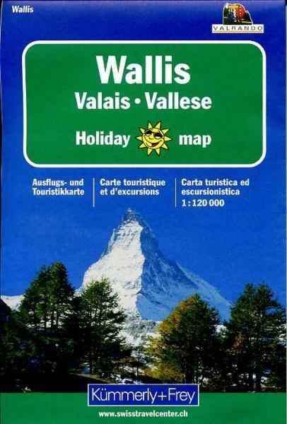 Wallis 1:120.000 Holiday Map 9783259009055  Kümmerly & Frey Holiday Maps  Landkaarten en wegenkaarten Wallis