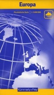 Europa 1:4.500.000 - physikalische Karte 9783259014257  Kümmerly & Frey   Landkaarten en wegenkaarten Europa