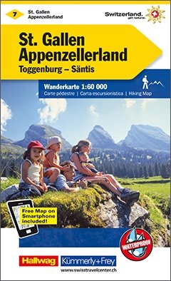 KFW-07  St.Gallen, Appenzell 9783259022078  Kümmerly & Frey Wandelkaarten Zwitserland  Wandelkaarten Noordoost- en Centraal Zwitserland