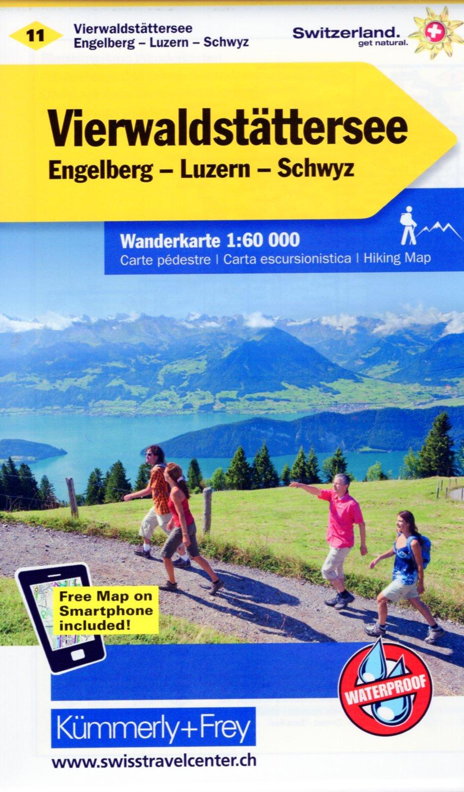 KFW-11  Vierwaldstättersee   wandelkaart / overzichtskaart 9783259022115  Kümmerly & Frey Wandelkaarten Zwitserland  Wandelkaarten Noordoost- en Centraal Zwitserland