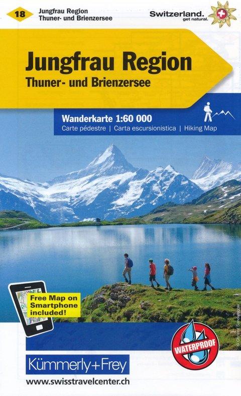 KFW-18  Jungfrau Region-Oberhasli | wandelkaart / overzichtskaart 9783259022184  Kümmerly & Frey Wandelkaarten Zwitserland  Wandelkaarten Berner Oberland, Basel, Jura, Genève