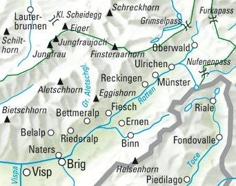 KFW-25  Aletsch-Goms-Brig | wandelkaart / overzichtskaart 9783259022252  Kümmerly & Frey Wandelkaarten Zwitserland  Wandelkaarten Wallis