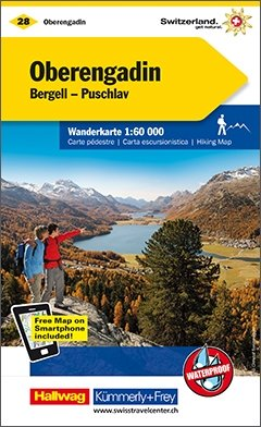 KFW-28  Oberengadin/Bergell   wandelkaart / overzichtskaart 9783259022283  Kümmerly & Frey Wandelkaarten Zwitserland  Wandelkaarten Graubünden, Tessin