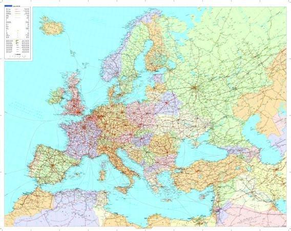 [26]  Europa  1:5m. plano (politiek, PAPIER) 9783259941553  Kümmerly & Frey   Wandkaarten Europa