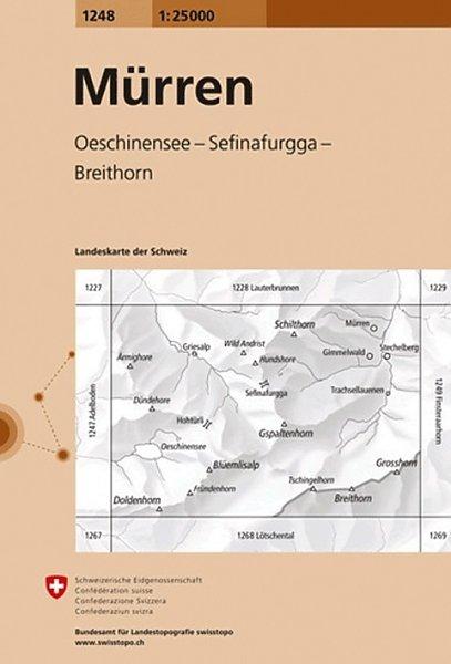 CH-1248  Mürren [2013] topografische wandelkaart 9783302012483  Bundesamt / Swisstopo LKS 1:25.000  Wandelkaarten Berner Oberland, Basel, Jura, Genève