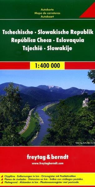 Tsjechië en Slowakije | autokaart, wegenkaart 1:400.000 9783707904321  Freytag & Berndt   Landkaarten en wegenkaarten Tsjechië, Slowakije
