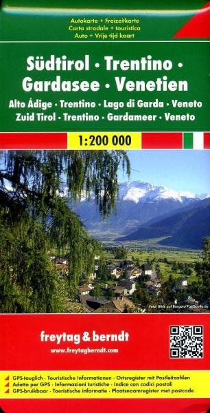 Tirol Zuid, Trentino, Gardameer, Venetië | autokaart, wegenkaart 1:200.000 9783707904550  Freytag & Berndt   Landkaarten en wegenkaarten Gardameer, Zuid-Tirol, Dolomieten