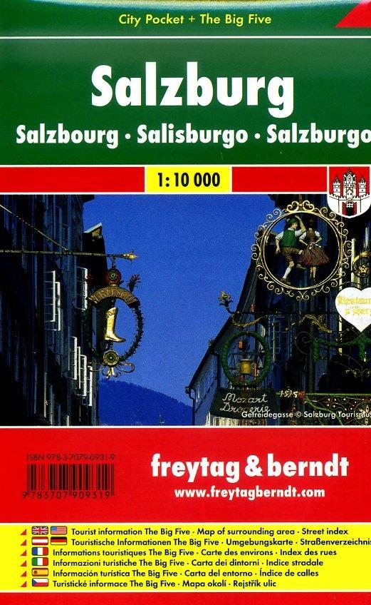 Salzburg 1:10.000   stadsplattegrond 9783707909319  Freytag & Berndt Compact plattegrond  Stadsplattegronden Salzburg, Karinthë, Tauern, Stiermarken