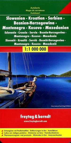 Slovenia - Croatia - Serbia | autokaart, wegenkaart 1:1.000.000 9783707909432  Freytag & Berndt   Landkaarten en wegenkaarten Balkan