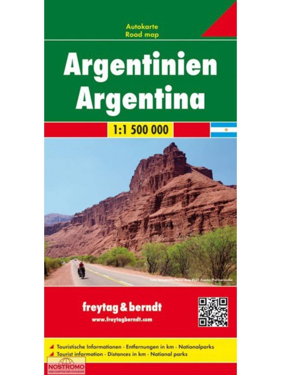 Argentinië   wegenkaart, autokaart 1:1.900.000 9783707914313  Freytag & Berndt   Landkaarten en wegenkaarten Chili, Argentinië, Patagonië