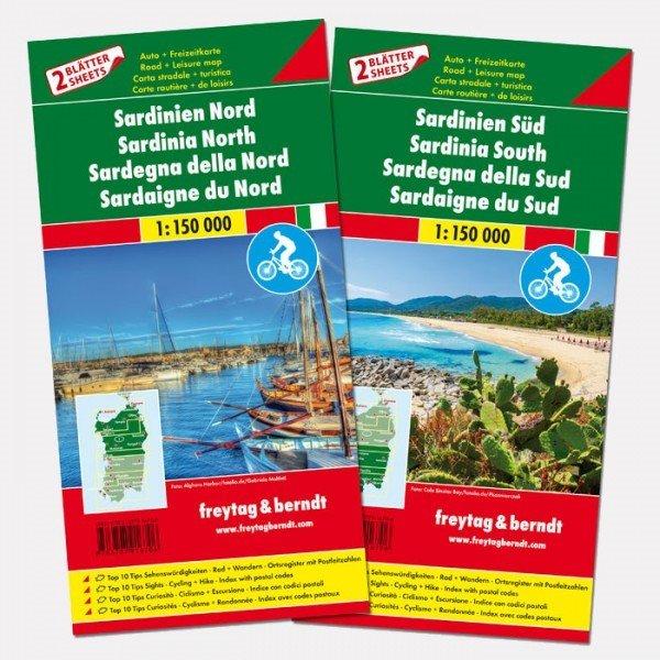 Sardinië (set van 2 kaarten) | autokaart, wegenkaart 1:150.000 9783707916706  Freytag & Berndt   Landkaarten en wegenkaarten Sardinië