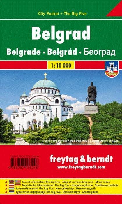 Belgrado 1:15.000 | stadsplattegrond 9783707917246  Freytag & Berndt   Stadsplattegronden Servië, Bosnië-Hercegovina, Macedonië, Kosovo, Montenegro