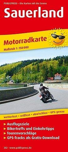 Sauerland 1:150.000 9783747302521  Publicpress Motorradkarten - mit der Sonne  Landkaarten en wegenkaarten, Motorsport Sauerland, Münsterland, Teutoburger Wald