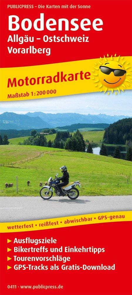 Bodensee, Allgäu - Ostschweiz - Vorarlberg 1:200.000 9783747304112  Publicpress Motorradkarten - mit der Sonne  Landkaarten en wegenkaarten, Motorsport Beierse Alpen en München, Tirol & Vorarlberg