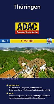 Thüringen 1:250.000 9783826423208  ADAC Bundesländerkarten  Landkaarten en wegenkaarten Thüringen, Weimar, Rennsteig