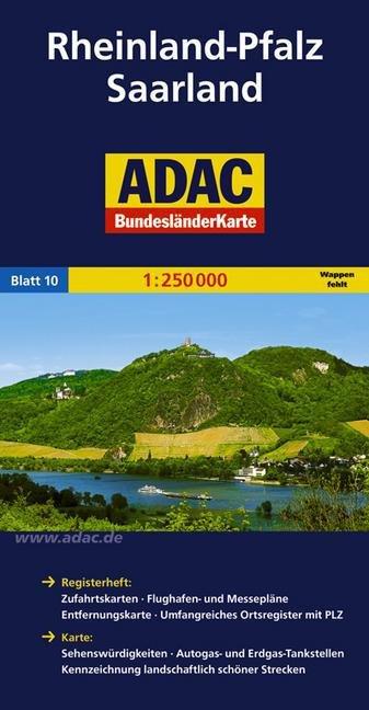 Rheinland-Pfalz, Saarland 1:250.000 9783826423222  ADAC Bundesländerkarten  Landkaarten en wegenkaarten Eifel, Moezel, Rheinland-Pfalz