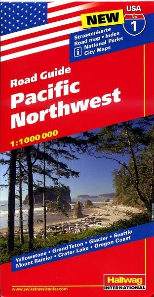 USA-01  Pacific Northwest 1:1.000.000 9783828307520  Hallwag USA Road Guides  Landkaarten en wegenkaarten Washington, Oregon, Idaho, Wyoming, Montana
