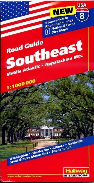 USA-08  South Eastern States 1:1.000.000 9783828307599  Hallwag USA Road Guides  Landkaarten en wegenkaarten VS Zuid-Oost, van Virginia t/m Mississippi