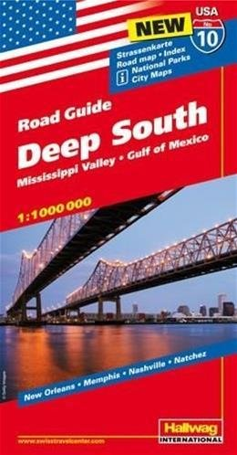 USA-10  Deep South/ Mississippi Valley 1:1.000.000 9783828307612  Hallwag USA Road Guides  Landkaarten en wegenkaarten VS Zuid-Oost, van Virginia t/m Mississippi