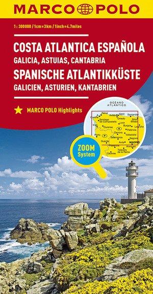 Spaanse Atlantische Kust 1:300.000 9783829737999  Marco Polo (D)   Landkaarten en wegenkaarten, Santiago de Compostela Noordwest-Spanje, Compostela, Picos de Europa